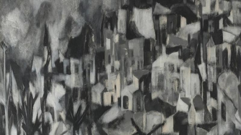 Akbar Padamsee's 'Greek Landscape' trumped all expectations. (Photo: Twitter)