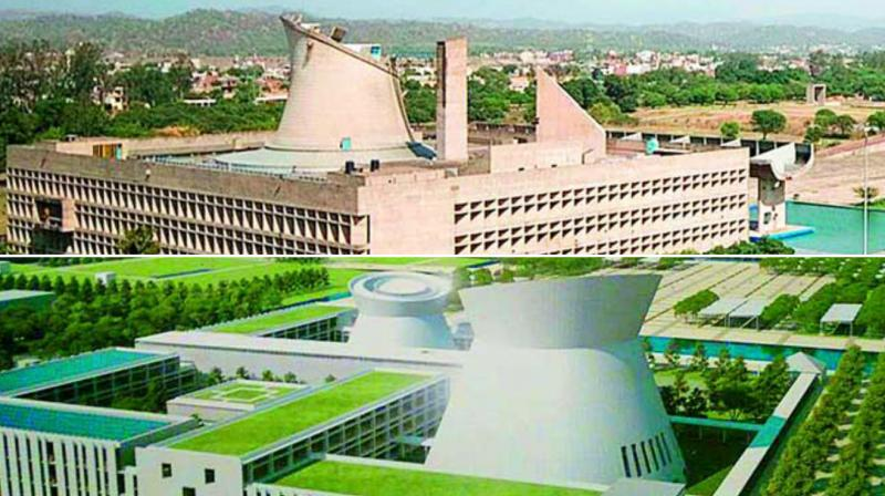 TOP: The palace of Assembly building in Chandigarh designed 50 years ago. BELOW: The design of AP Assembly building prepared by Maki Associates.