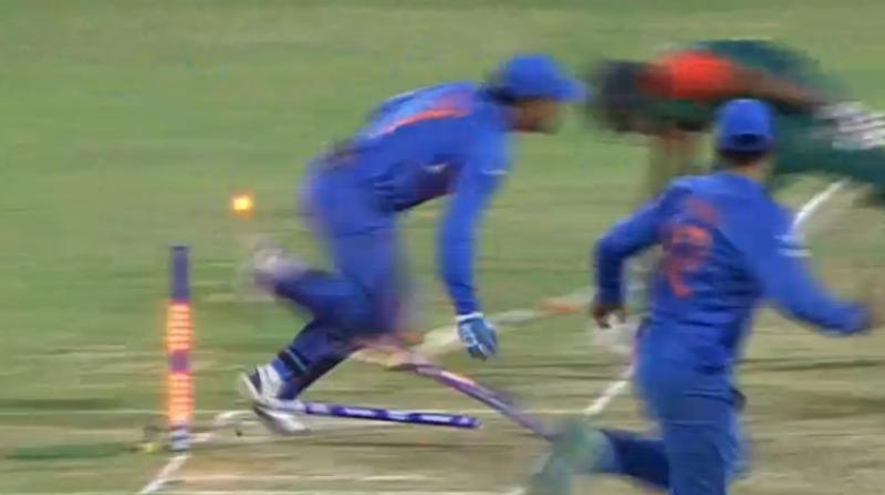 Captain Cool's maverick sprint in the last ball earned India the win. (Photo: Screengrab)