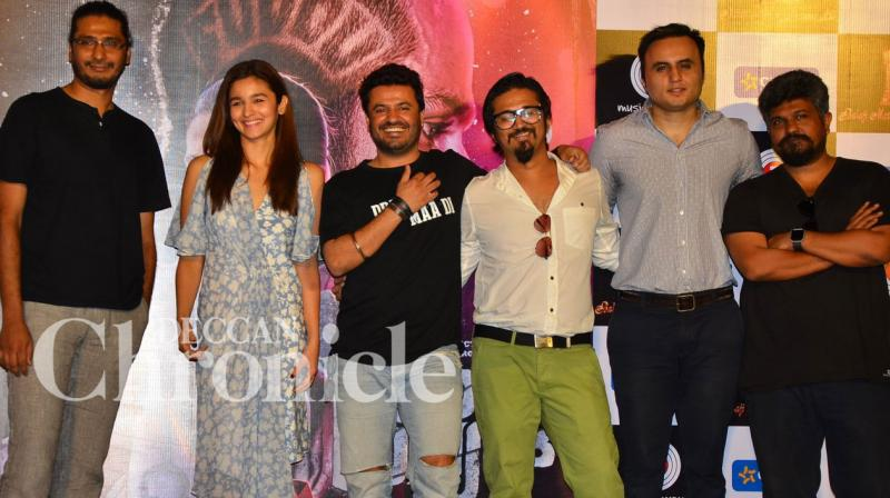 'Udta Punjab' leading lady Alia Bhatt, attended the 'Ikk Kudi' song launch along with her director and producers on Wednesday evening. Photo: Viral Bhayani