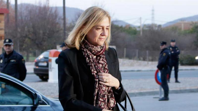 Spain's Princess Cristina arrives at a makeshift courtroom for a corruption trial. (Photo: AP/File)