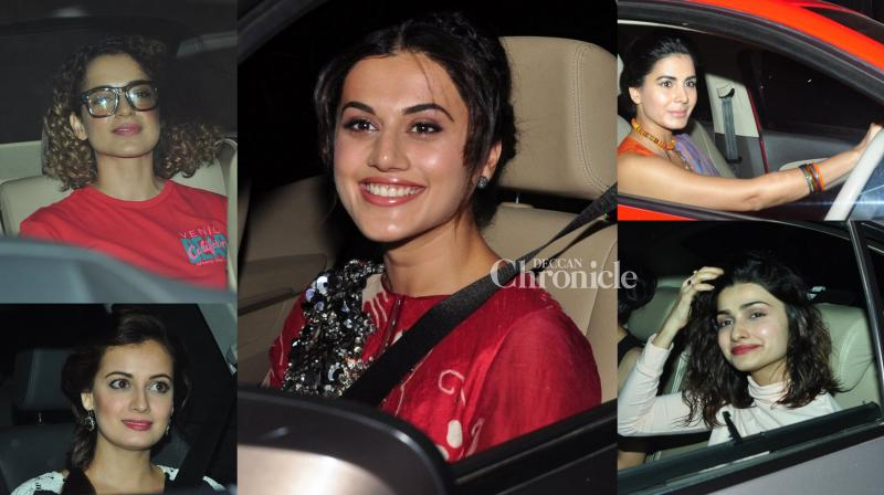 Actresses came in by the dozen to watch the screening of the Amitabh Bachchan-Tapsee Pannu starrer, Pink'.(Pic: Viral Bhayani)