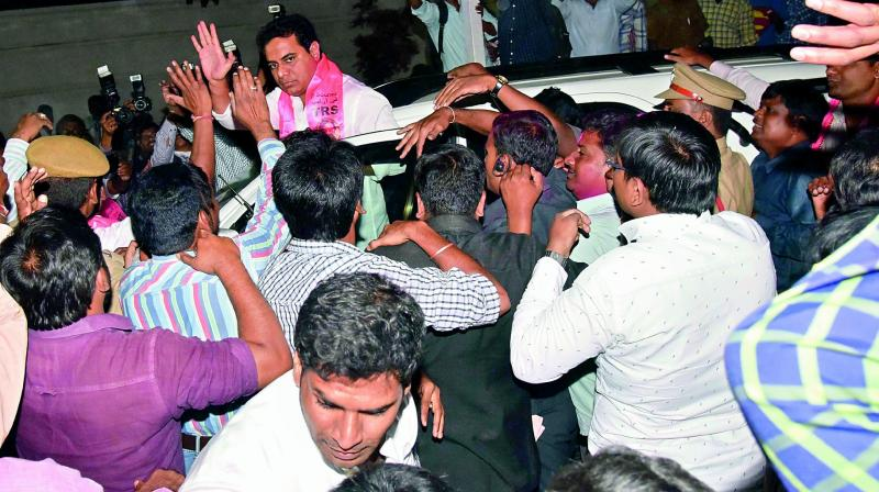 Telangana IT minister K.T. Rama Rao is elated after TRS won the GHMC polls. (Photo: DC)