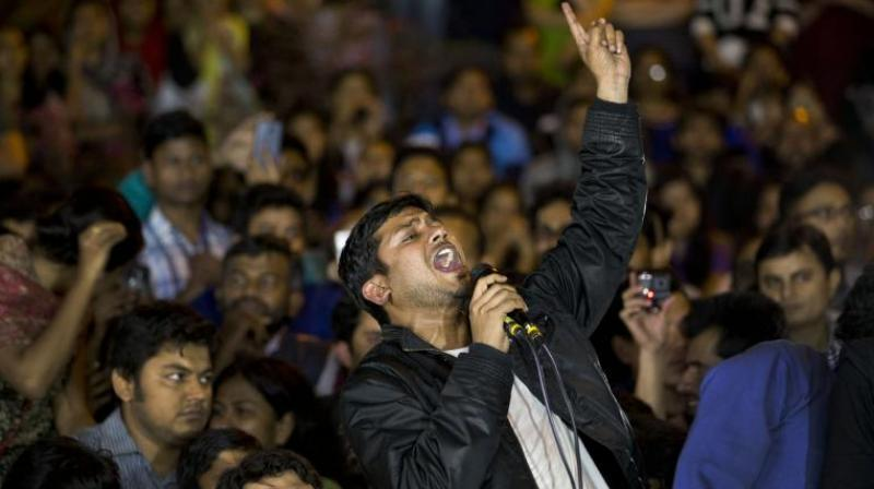 Jawaharlal Nehru University student union leader Kanhaiya Kumar makes a speech to fellow students after being released on bail in New Delhi. (Photo: AP)
