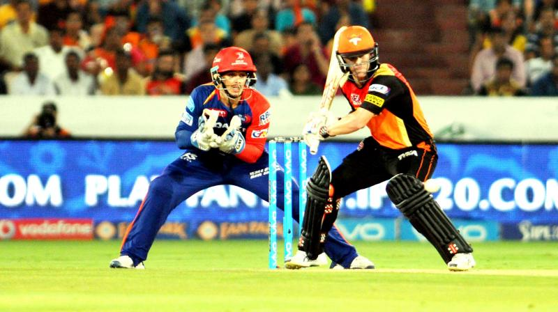 David Warner cut a couple through point as the hosts picked 15 runs off the over.