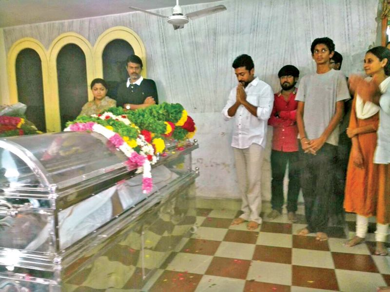 Actors Suriya, Khushbu and Subbu Panchu paying  homage to 'Vietnam Veedu' Sundaram at his house in the city on Saturday.