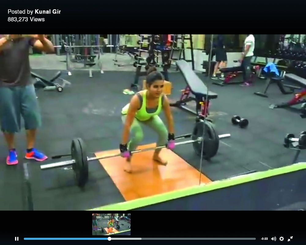woman of steel: Screengrabs from the video that shows Sam doing a deadlift