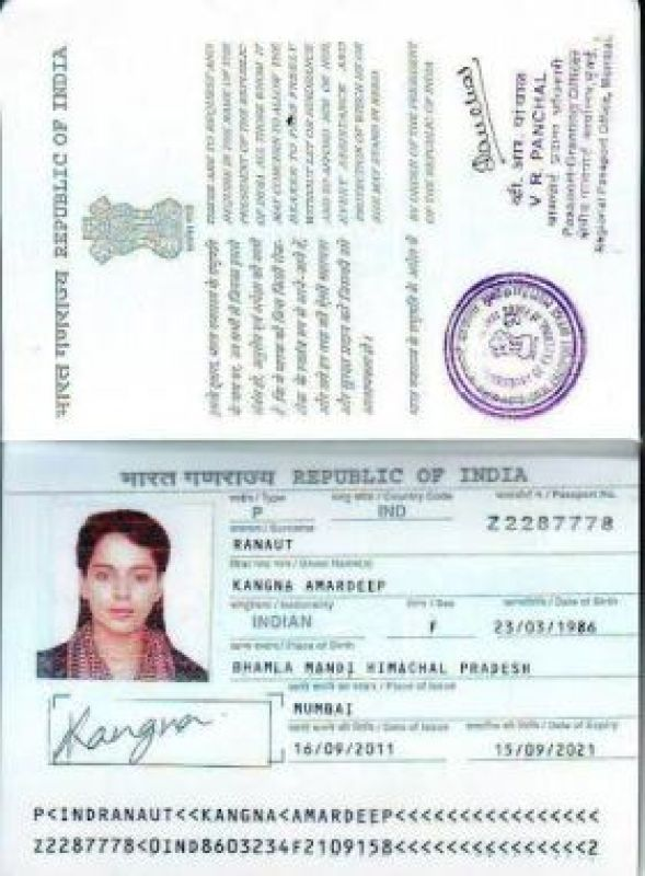 Kangana Ranaut's passpost. (Photo: ANI)