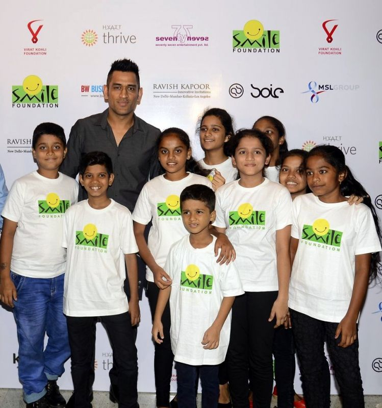 MS Dhoni also didn't miss the chance to share a picture with the kids from Smile Foundation.