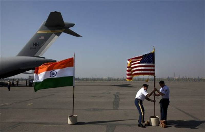 at a ceremony at the Palam airport, in New Delhi
