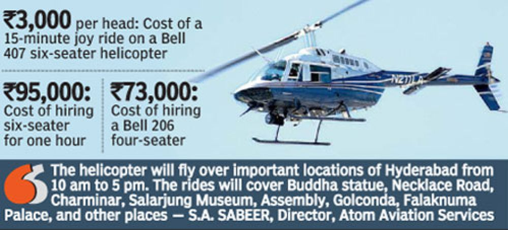 The helicopter will fly over important locations of Hyderabad.