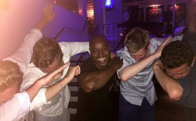 Best posted this photo to Instagram of himself doing 'The Dab' with English fans in Barbados on Tuesday. (Photo: Instagram)