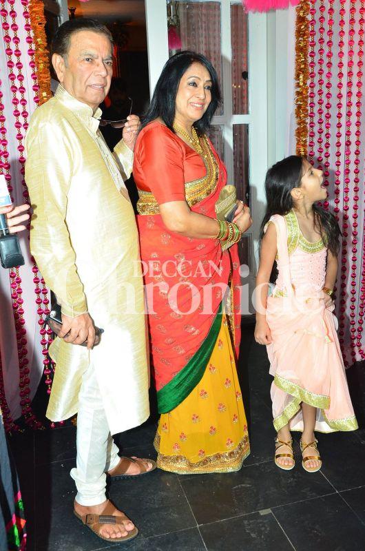 Bipasha Basu's parents Hirak Basu and Mamta Basu along with her niece.