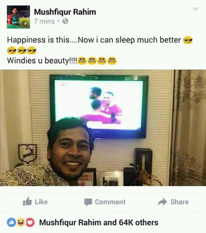 Mushfiqur Rahim celebrates after West Indies defeated India in ICC World Twenty20 semifinal. (Photo: Facebook)