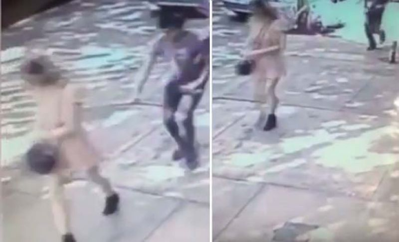 CCTV footage of the man who pulled down knickers of a woman walking on the street. (Photo: YouTube Video Grab)