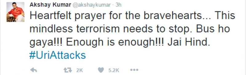 Bollywood celebrities took to Twitter to express their shock over the Uri attacks.